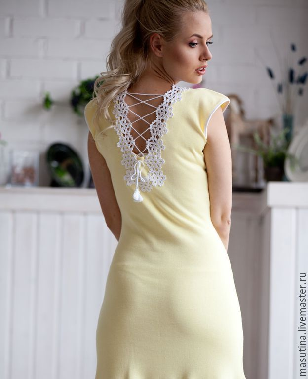 """Купить Платье """"Солнце на ладони"""" - лимонный, однотонный, вязаное платье, платье с кружевом, ирландское кружево"""