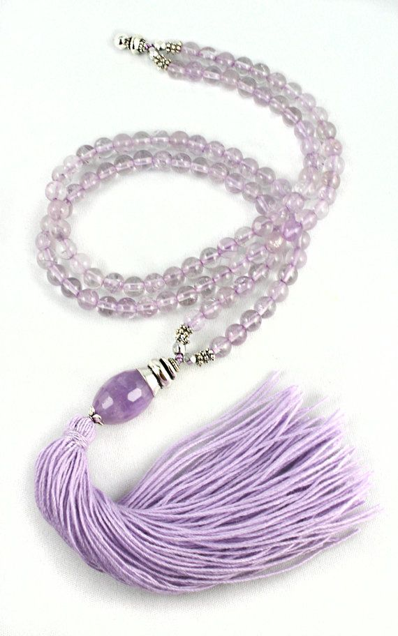 Amethyst Mala Beads remind me of fragrant lilacs that bloom in the spring by goodmedicinegemstone