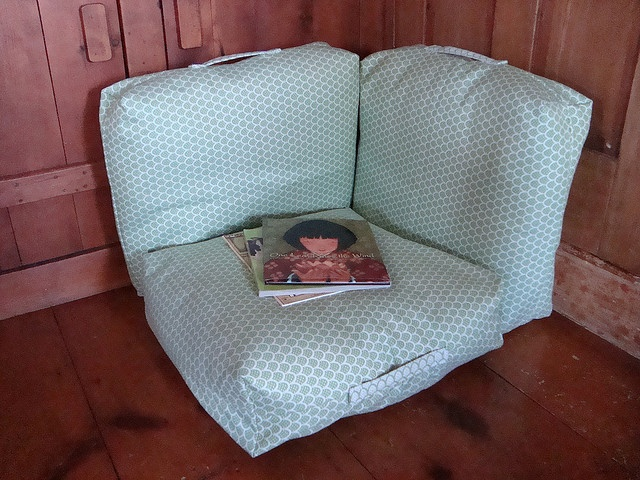 reading corner made from three large pillows - so easy