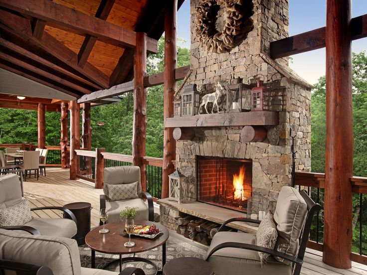 Rustic Deck With Outdoor Fireplace Wrap Around Porch