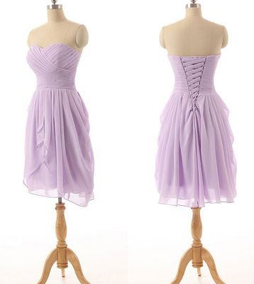 Classic Strapless Bridesmaid Dresses, Lavender Chiffon Bridesmaid Dress with Ruching Detail, Simple Short Bridesmaid Gowns