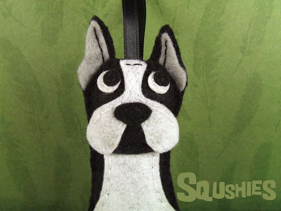Felt Dog Boston Terrier Christmas Ornament Felt Tree by Squshies