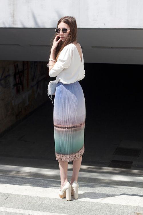 Landscape print skirt and pretty top.
