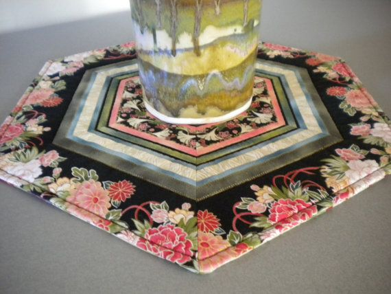 Quilted Table Topper Asian Quilt floral by SewEverAfter