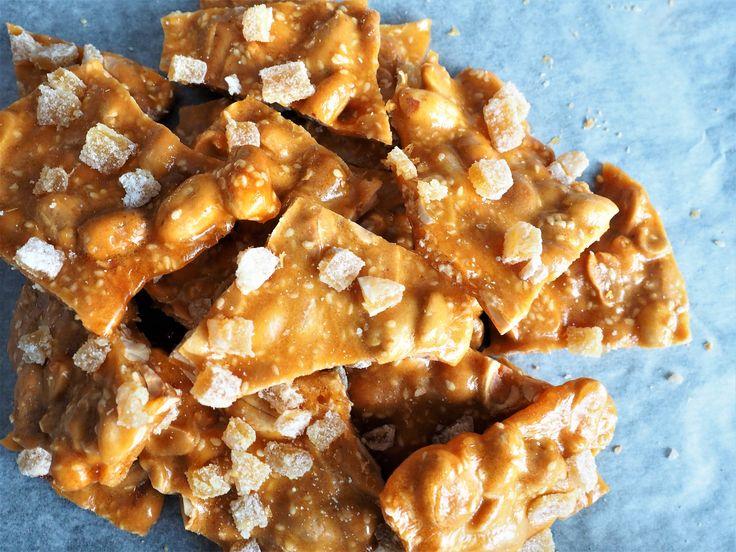 Spicy Ginger Sesame Peanut Brittle