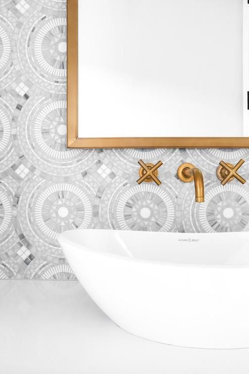 White and gray marble mosaic tiles