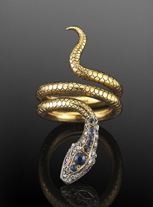 Victorian Sapphire and Diamond Coiled Snake Ring