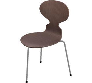 Myren med 3 ben. Dette er det originale design til Myrestolen af Arne Jacobsen. Myre stolen blev designet til Novo Nordisk i 1952. Senere blev den lanceret med 4 ben for at gøre den mere stabil.