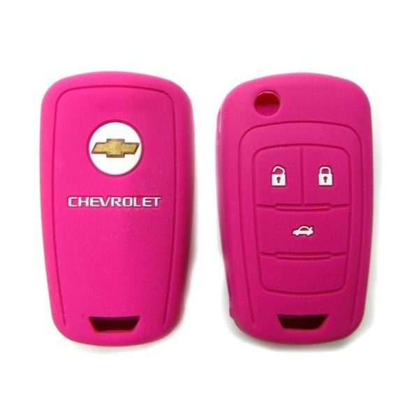 Key Fob Silicone Case Cover Holder For Chevrolet Cruze Camaro 4... ❤ liked on Polyvore featuring accessories, pink key chains and fob key chain