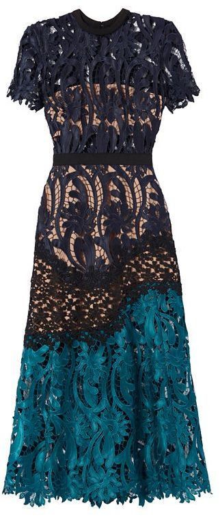 Self-Portrait Tri-Tone Midi Lace Dress