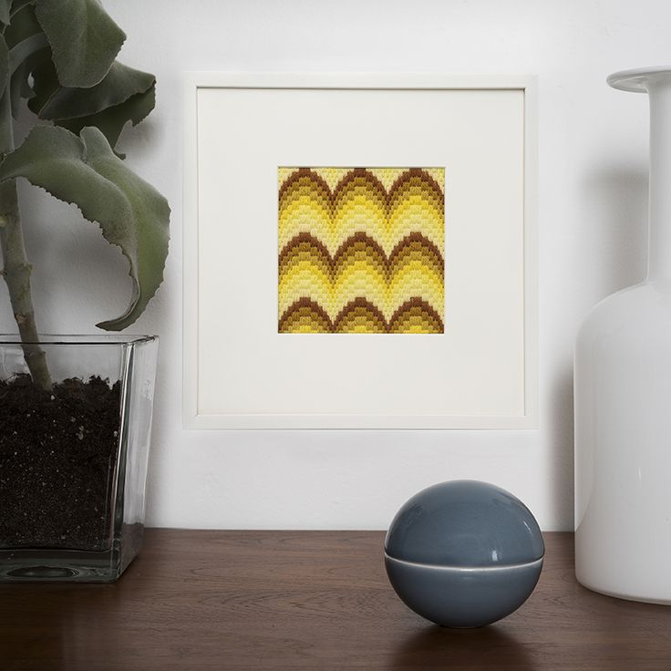 DIY Bargello/ Long Stitch framed Embroidery designed and styled by Tine Wessel - The Needle has a Point - for Oehlenschläger Denmark.