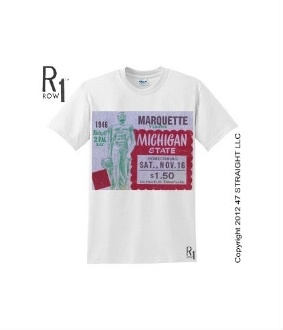 Vintage Michigan State football tickets turned into ROW 1™ Tees. The best college football tickets are at http://www.shop.47straightposters.com/46-MARQUETTE-VS-MICHIGAN-STATE-Football-Ticket-Shirt-46MARMICHST.htm $23.99