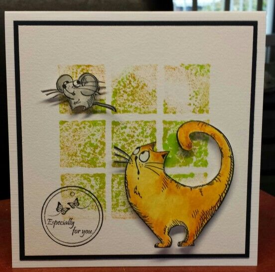achtergrond stempel kat en muis alle drie van Katzelkraft gedaan met distress ink