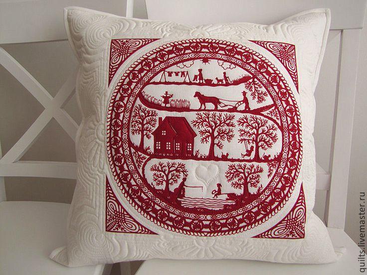 """Купить Лоскутная наволочка """"Скандинавия"""" - белый, красный, лоскутная подушка, лоскутная наволочка, стеганая подушка"""