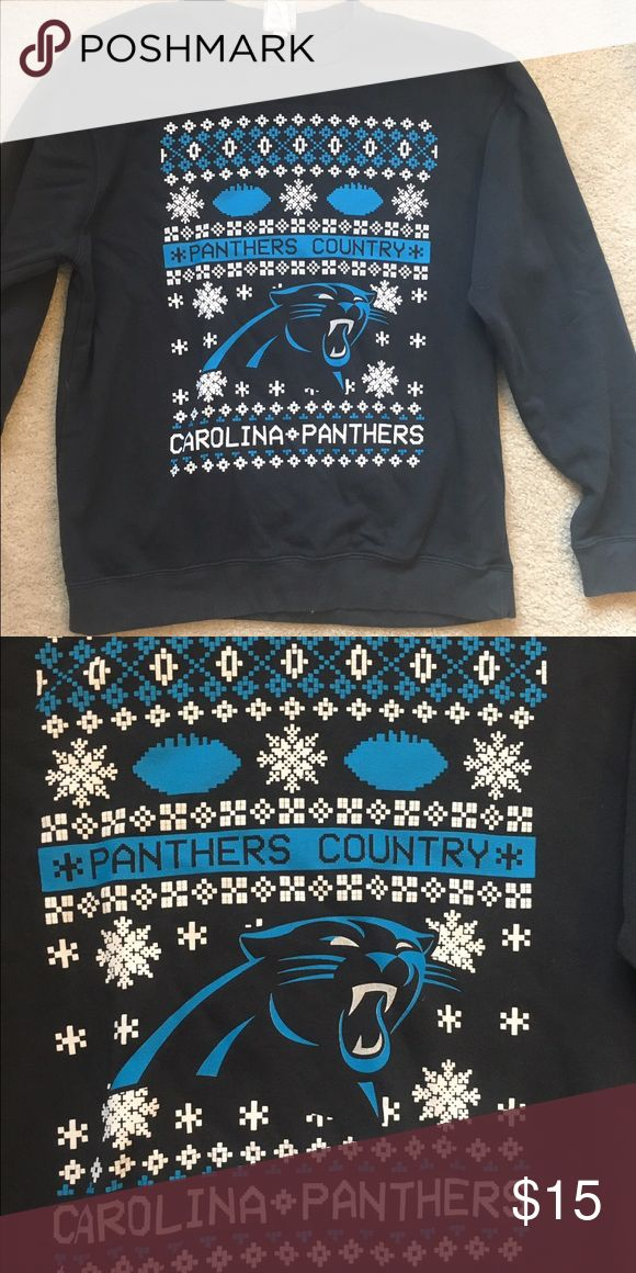Carolina Panthers Ugly Christmas Sweatshirt Carolina Panthers sweatshirt with an ugly Christmas sweater pattern. Size M. Super comfy! Champion Sweaters Crew & Scoop Necks