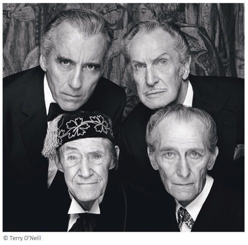 Above photo was taken by Terry O'Neill on the set of the 1983 horror comedy, House of the Long Shadows, the only film which co-starred four great master horror actors: Vincent Price, John Carradine, Peter Cushing, and Christopher Lee.