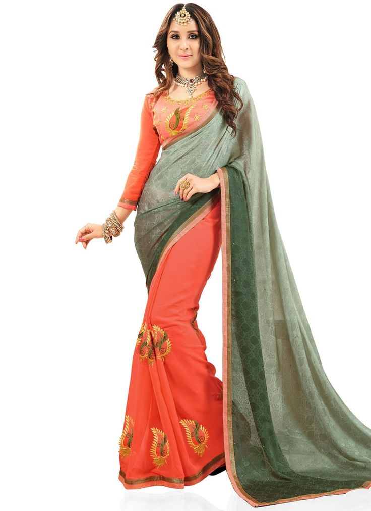 Embroidered Fancy Fabric Half N Half Designer Saree in Green and Orange