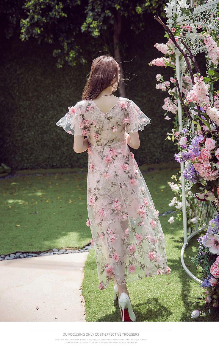 Ручной работы Вышитые Цветы Девушка Dress Перспектива Sexy Lady Sweet Summer Dress Богемный Стиль Длинные Dress for Woman купить на AliExpress