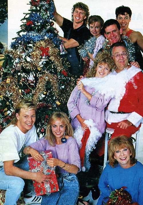 The cast of Neighbours TV soap opera, Christmas photo, circa 1986. Can you spot Kylie Minogue & Jason Donovan?