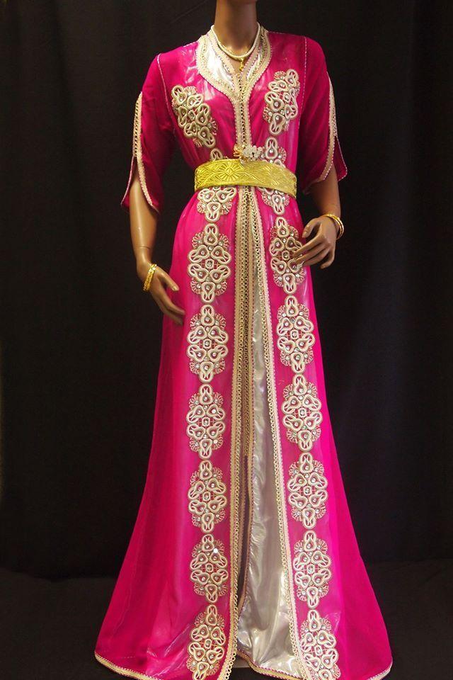 Caftan Marocain TEC010 Robe Mariage Fuschia 3 pièces Takchita via Halima Boutique. Click on the image to see more!