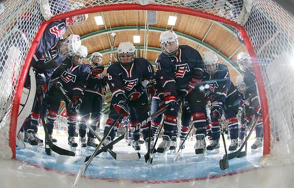 Burlington, USA - April 7: Team USA gathers before preliminary round action at the 2010 IIHF World Championship. (Photo by Andre Ringuette/HHOF-IIHF Images)