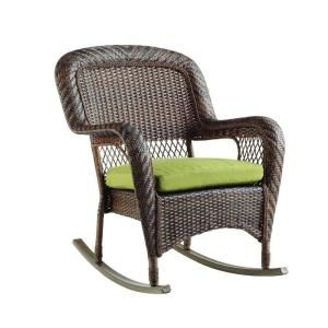 Martha Stewart Living Charlottetown Brown All-Weather Wicker Patio Rocking Chair with Green Bean Cushion-65-717304 at The Home Depot