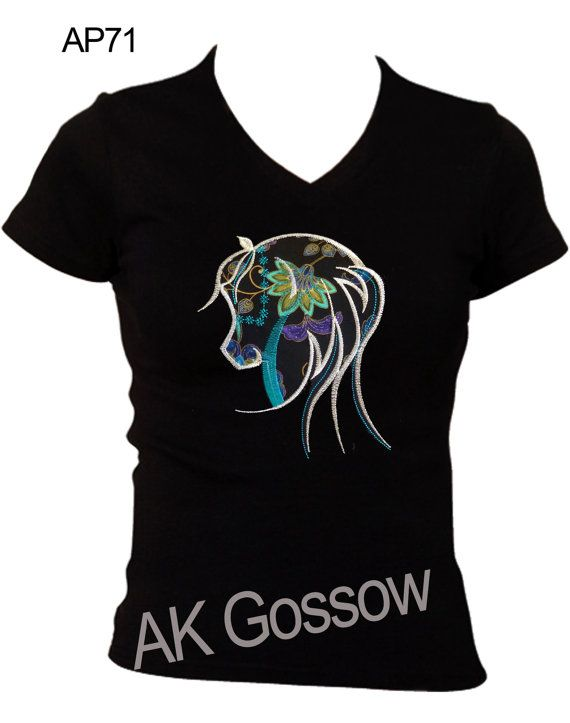 Slim Fit V Neck Tshirt with Stunning by HorseUp on Etsy, $29.50