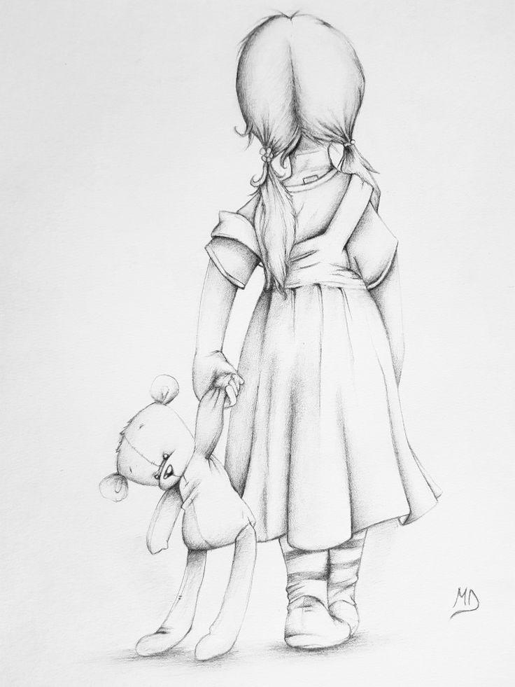 Картинки девочка с мишкой карандашом