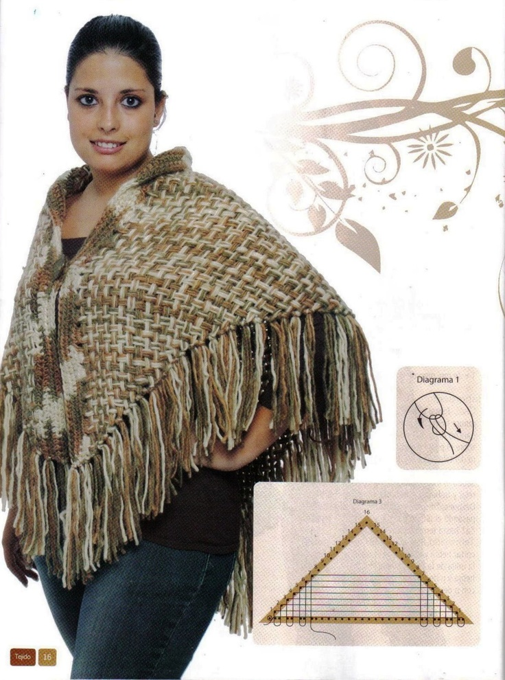 """Poncho on a triangle loom. The instructions are in Spanish, there are some picture instructions. All I have to say """"I want this toy"""" for my collection. ---- Tejidos y Telares: telar triangular"""