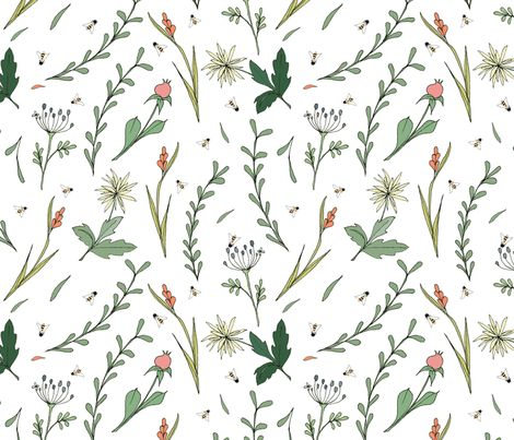 wild flower and bees fabric by ex-m_by_alessandraspada on Spoonflower - custom fabric