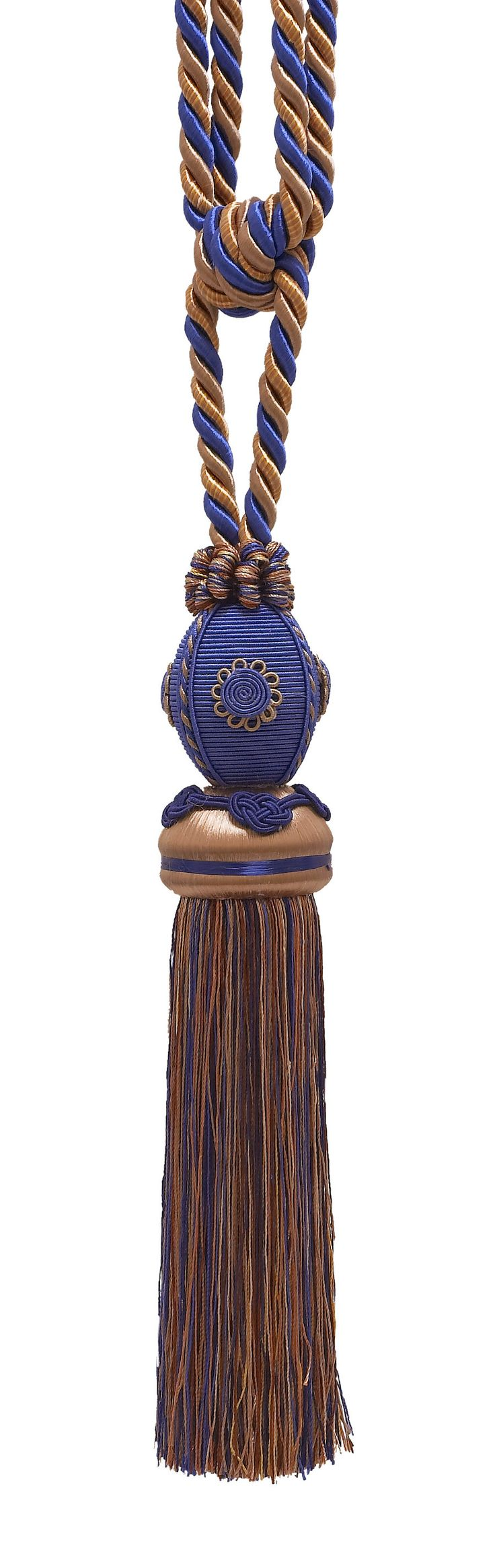 """Exquisite Ultramarine Blue, Tan Curtain & Drapery Single Tassel Tieback/ 10"""" tassel / 30"""" Spread (embrace), 3/8"""" Cord, Baroque Collection Style# TBB-1 Color: NAVY TAUPE 5817"""