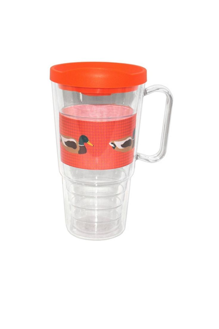 Reusable tumber with orange lid featuring a duck motif pattern. These insulated tumblers are great for any type of drink. Handwash only.    Measures: 24 oz    Duck Insulated Tumbler by The Gift Pod. Home & Gifts - Home Decor - Dining Louisiana