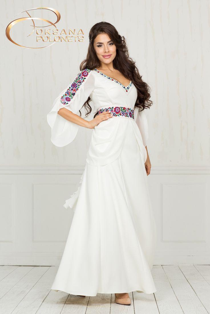 Сучасна весільна сукня з вишивкою http://polonets.prom.ua/