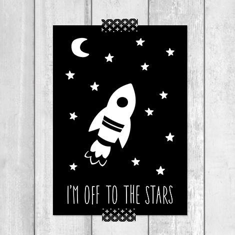 Super leuk in een monochrome kinderkamer, deze stoere raket met tekst 'I'm off to the stars'! Hang de poster op in een lijstje, in een klembord of met een vrolijk stukje washi-tape aan de muur.