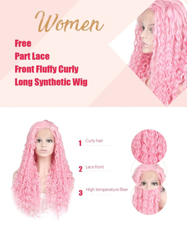Women Trendy Free Part Fluffy Long Curly Lace Front Synthetic Wig