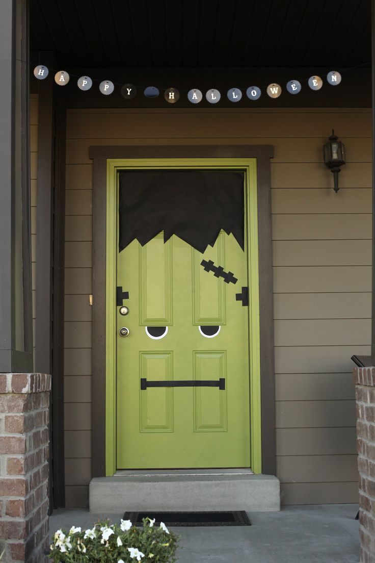 Frankenstein My Green Front Door Halloween Door