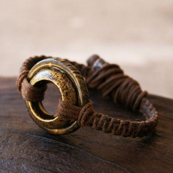 Antique African Ring Bracelet - Solid Bronze, Brass, Adjustable Woven Linen