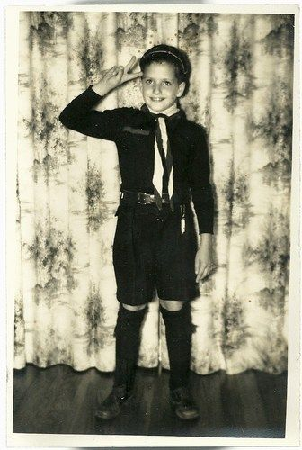 1955 Vintage Photo 8 Year Old Boy In Cub Scout Cap And
