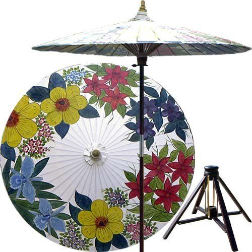 Eastern Bouquet 7 Foot Patio Umbrella With Base   Lily White By  Oriental Decor.