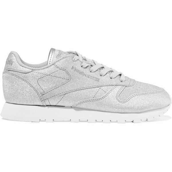 Reebok Reebok - Classic Glittered Leather Sneakers - Silver (273.400 COP) ❤ liked on Polyvore featuring shoes, sneakers, silver trainers, leather shoes, glitter trainers, rubber sole shoes and glitter sneakers