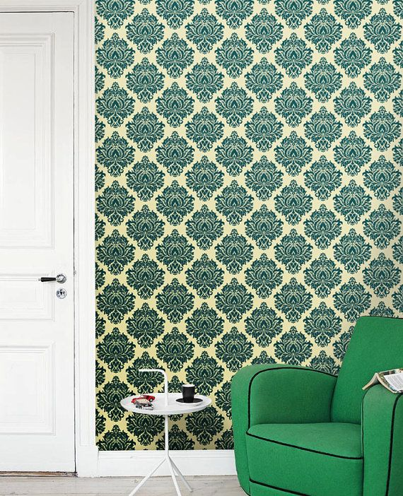 Removable self-adhesive modern vinyl Wallpaper wall sticker - Damask pattern wall art  C014