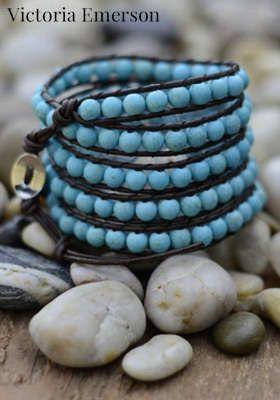 victoria emerson leather wrap bracelet: Emerson Leather, Leather Wrap Bracelets, Handmade Stones Bracelets, Cities, Diy Jewelry, Victoria Emerson Bracelets, Diy Bracelets, Fun Jewelry, Leather Wraps Bracelets
