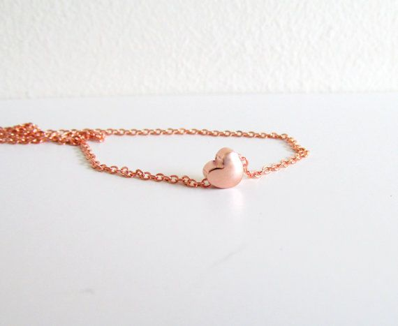 Rose Gold Necklace Rose Gold Heart Necklace Tiny by EfZinCreations, $16.00