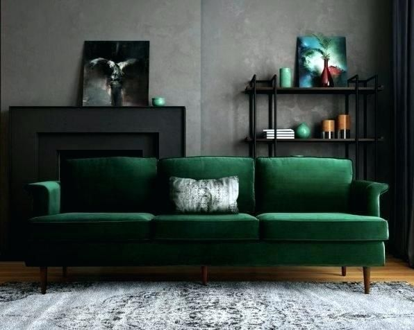 Dark Green Sofa And Grey Walls Wikie Cloud Design Ideas Green Living Room Decor Green Sofa Living Room Green Sofa
