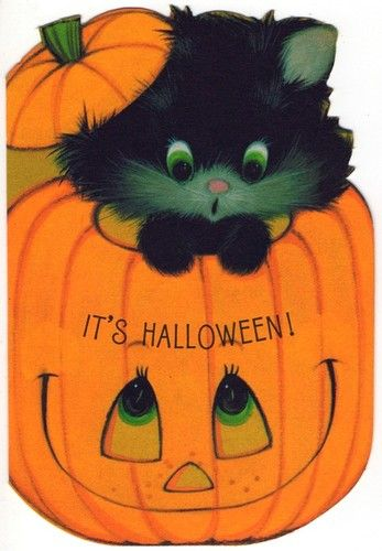 Vintage Greeting Card Halloween Black Cat