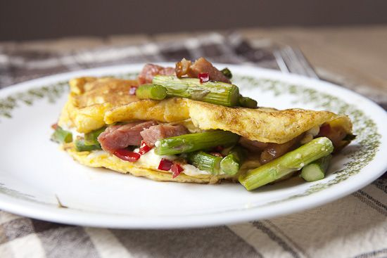 Asparagus Goat Cheese Omelette... I'd subtract the ham.