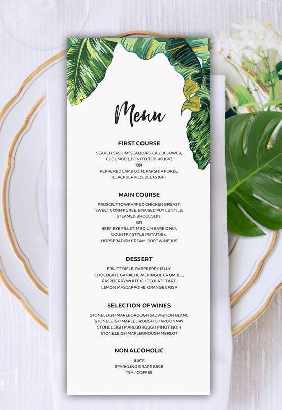 tropical wedding menu reception menu menu download printable menu