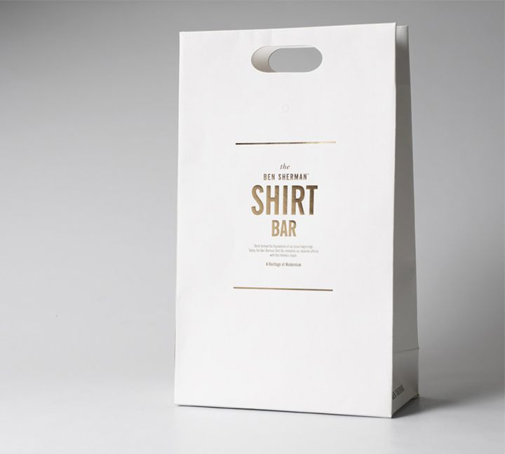 Ben Sherman Shopping Bag. Gold on White. Simple and good.