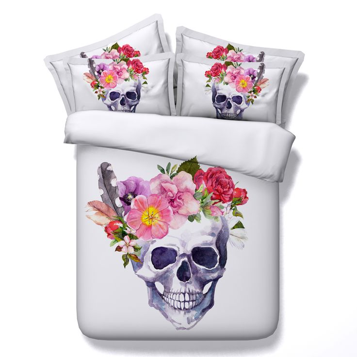 Find More Bedding Sets Information about New 4 Pcs 100% Cotton 3d Sugar Skull Rose Flower Bedding Sets Duvet Cover Bed Sheet Bedspreads Twin Full Queen Super King Size ,High Quality bedding sets duvet,China king size Suppliers, Cheap bedding set from Fashion Bedding Store on Aliexpress.com