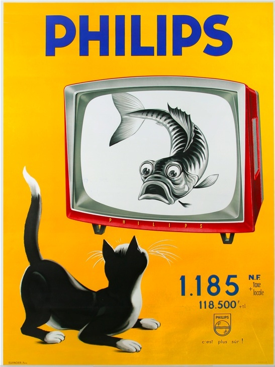 Philips French advertising poster by Elvinger (1960s)